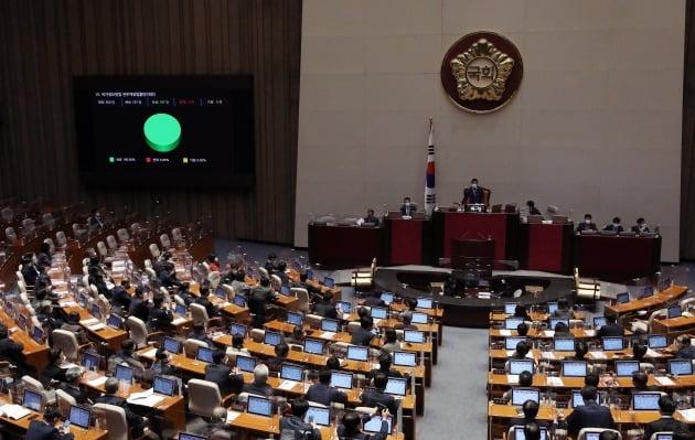 지난 13일 국회 본회의에서 국가정보원법 전부개정법률안이 국민의힘 의원들이 모두 퇴장하고 더불어민주당과 범여권 의원들만 참석한 가운데 재석 187인, 찬성 187인으로 통과되고 있는 모습. 뉴스1