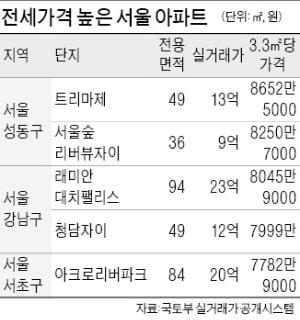 전셋값 5000만원 넘는 아파트, 서울 89곳…작년보다 61.8% 늘어