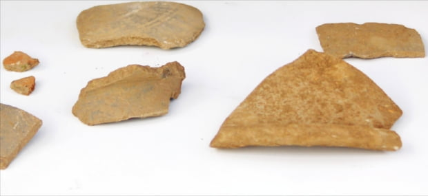 울릉도 남양항 인근에서 발견된 토기 조각들.