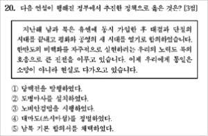 """너무 쉬운 '수능 한국사 20번 문제' 논란…野 """"대북정책 간접홍보 아니냐"""""""