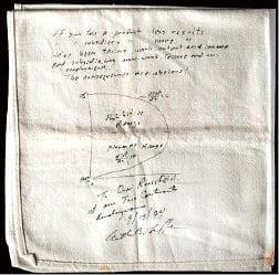 미국 경제학자 아서 래퍼 교수가 1974년 미국 워싱턴DC의 한 음식점에서 세율을 너무 높이면 세금이 적게 걷힌다는 내용을 음식점 냅킨에 그린 그림.
