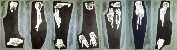 스페인 내전으로 고통받는 여인을 7개의 연작으로 담아낸 오스왈도 과야사민의 '눈물 흘리는 여인들'.  /사비나미술관 제공