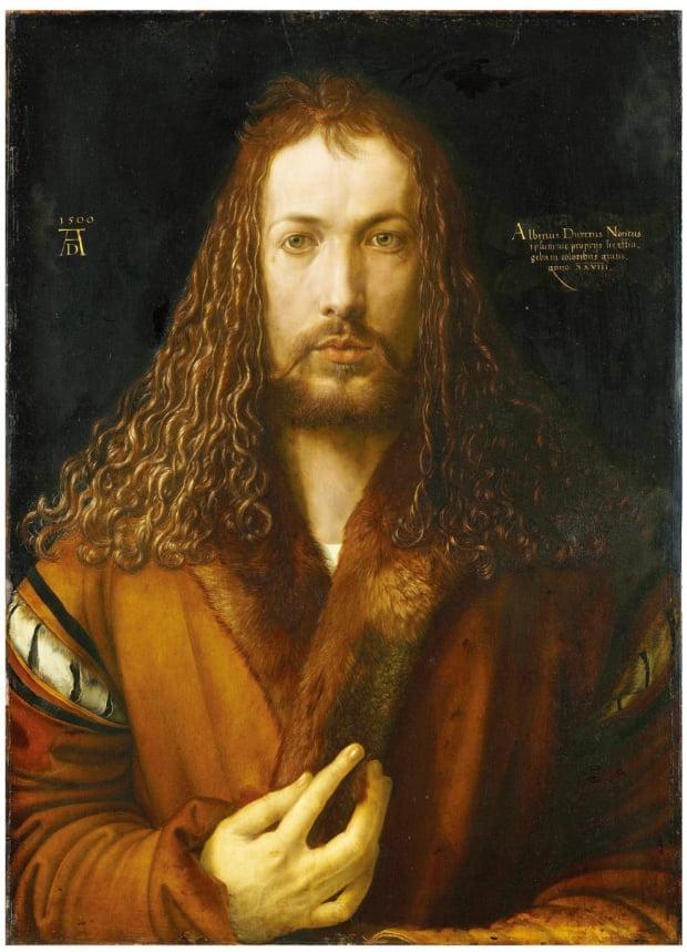 알브레히트 뒤러의 '모피 코트를 입은 자화상', 1500년, 알테 피나코텍 미술관 소장.