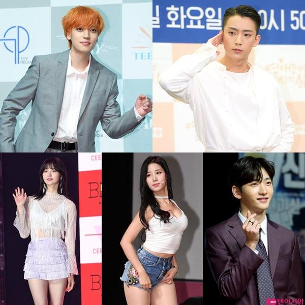 틴탑 니엘(왼쪽부터 시계방향), B1A4 공찬, 레인즈 홍은기, 베리굿 조현, EXID 정화./ 사진=텐아시아DB