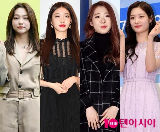 그룹 구구단 강미나(왼쪽부터) 청하, 우주소녀 유연정, 정채연