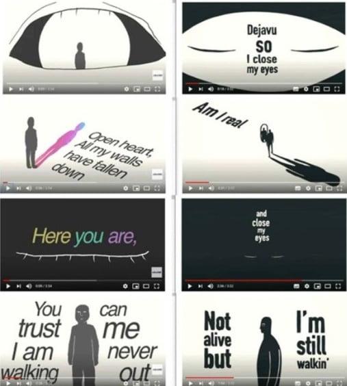 일본 그룹 아라시의 '페이스 다운: 리본' 뮤직비디오(왼쪽)과 국내 그룹 데이식스의 '좀비' 리릭 뮤직비디오(오른쪽) / 사진 = 온라인 커뮤니티