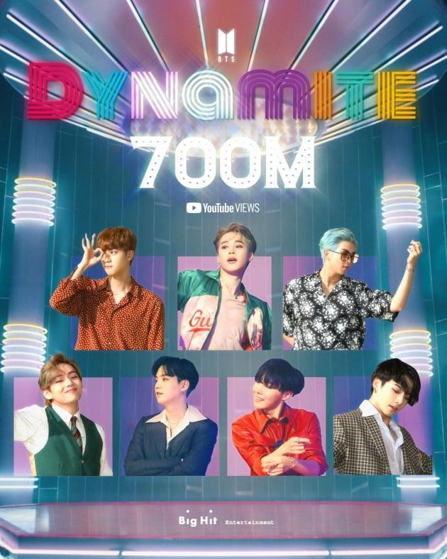 그룹 방탄소년단의 'Dynamite' 뮤직비디오가 7억뷰를 돌파했다. / 사진제공=빅히트엔터테인먼트