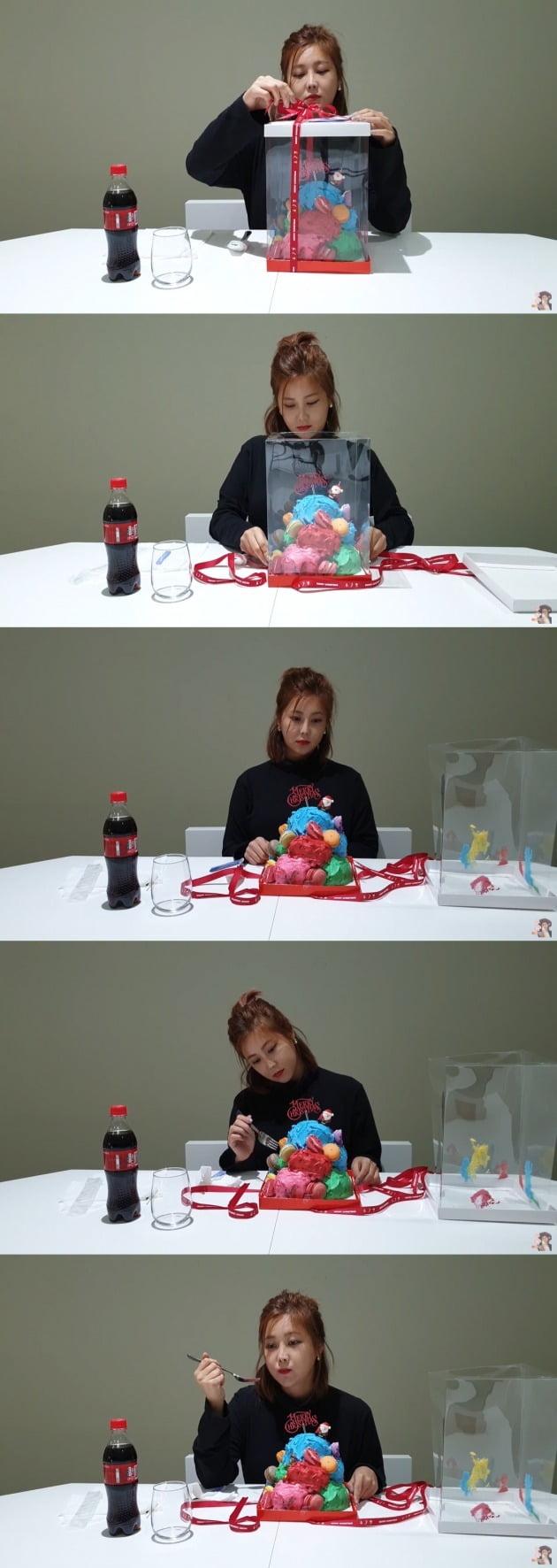 솔비가 자신이 직접 만든 케이크를 먹는 영상을 올렸다. / 사진=솔비 유튜브 채널 캡처