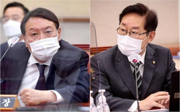 박범계 신임 법무부 장관 내정자와 윤석열 검찰총장 /사진=연합뉴스