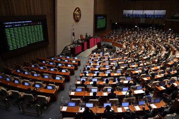 10일 오후 서울 여의도 국회에서 열린 본회의에서 공수처(고위공직자범죄수사처)법 개정안이 재석 의원 287명 가운데 찬성 187명, 반대 99명, 기권 1명으로 가결되고 있다. /사진=뉴스1