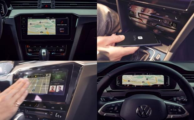 시계방향으로 차내 디스플레이·무선충전 시스템·디지털 콕핏·MIB3 작동 모습. 사진 = 폭스바겐코리아