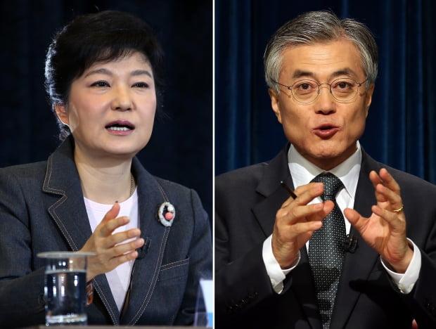 (왼쪽부터) 박근혜 전 대통령과 문재인 대통령. 사진은 대선후보 당시 TV토론회 모습. 사진=연합뉴스