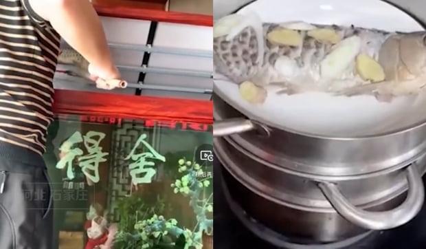 스좌장에서 식자재가 떨어지자 한 시민은 4000위안(약 67만원)짜리 관상어를 요리해 먹기도 했다. 사진=웨이보