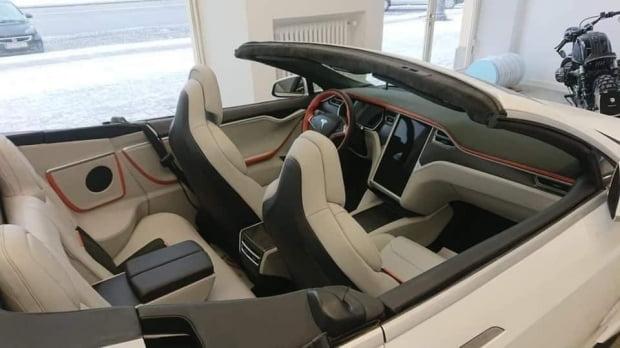 테슬라 모델 S 기반의 컨버터블 차량. 사진=트위터 Tesla Owners UK