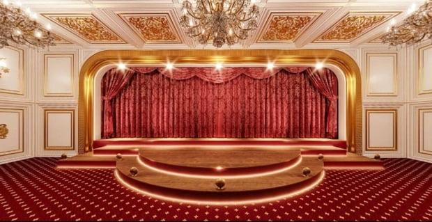 사진은 나발니가 공개한 푸틴 대통령 저택의 내부 모습을 캡처한 것. 극장의 모습으로 추정된다. (사진=palace.navalny.com 캡처)
