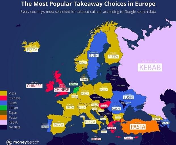 유럽 국가들의 가장 선호하는 포장음식. 사진 = 영국 보험업체 머니비치