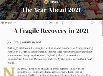 """루비니 교수는 최근 기고문에서 """"올해 미국 경제가 불안한 회복을 보일 것""""이라고 예상했다. 프로젝트신디케이트 캡처"""