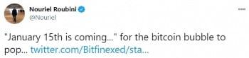 """""""1월 15일에 비트코인 가격이 급락할 것""""이라고 예언한 루비니 교수의 트윗. 트위터 캡처"""