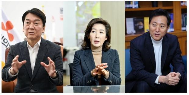 서울시장 선거에 출마한 안철수, 나경원, 오세훈 후보자(왼쪽부터)