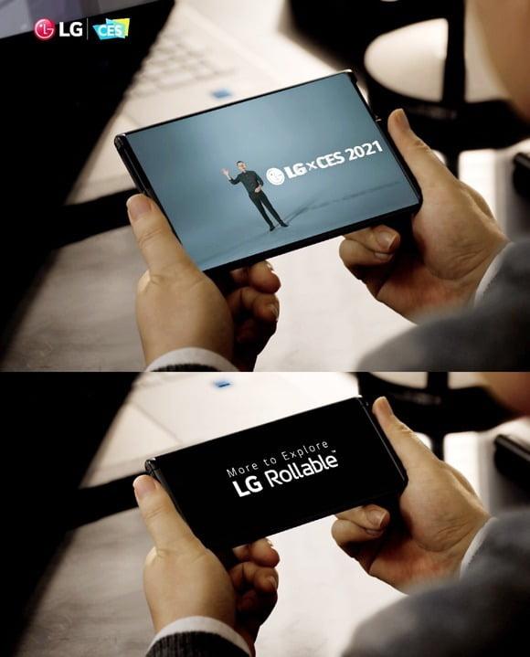 LG전자가 이달 초 미국 CES에서 공개한 '롤러블폰' 이미지. /LG전자 제공.