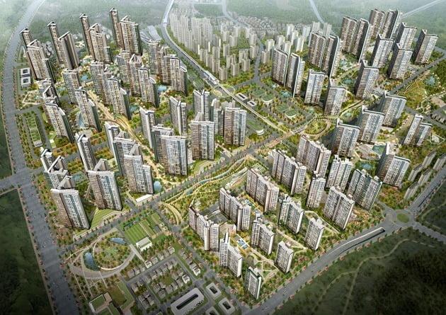대한민국 대표 리조트 도시 시즌2가 될 '왕길역 로열파크씨티'는 왕길역 일대에 대지면적 145만1878㎡(약 43만9193평) 6개 단지, 아파트만 1만 3000가구에 달하는 대규모 도시개발사업이다. / 자료=DK도시개발, DK아시아