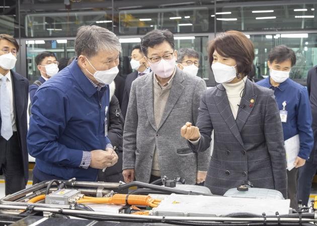 한정애 환경부 장관(맨 오른쪽)이 28일 전북 완주군에 위치한 현대자동차 전주공장을 찾아 수소·전기버스 생산현장을 둘러보고 있다. /환경부 제공