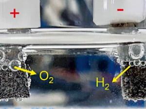 IBS 연구팀이 개발한 산소 발생 가속 촉매(왼쪽)로 수소를 생산하는 모습.  /IBS 제공