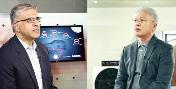 지난 12일 오후(미국 동부시간) 권봉석 LG전자 사장(오른쪽)과 스와미 코타기리 마그나 최고경영자가 전기차 합작법인에 대해 설명하고 있다.  LG전자 제공