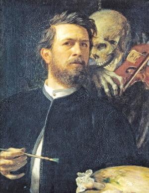 바이올린을 연주하는 죽음과 함께 있는 자화상  1872년, 알테 내셔널갤러리(베를린) 소장