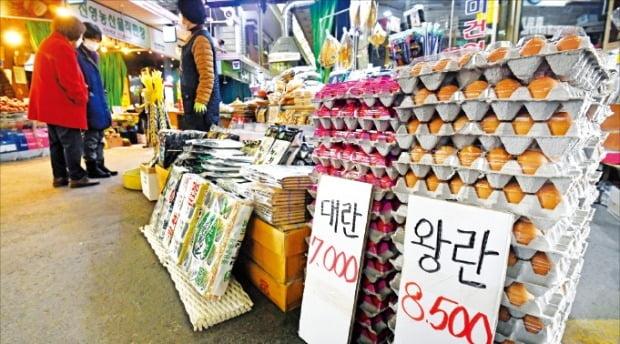 작년 11월부터 확산한 조류인플루엔자(AI) 영향으로 달걀값이 치솟고 있다. 설을 앞둔 31일 서울시내 한 전통시장에서 달걀 한 판(30개)을 8500원에 판매하고 있다.  김범준 기자 bjk07@hankyung.com