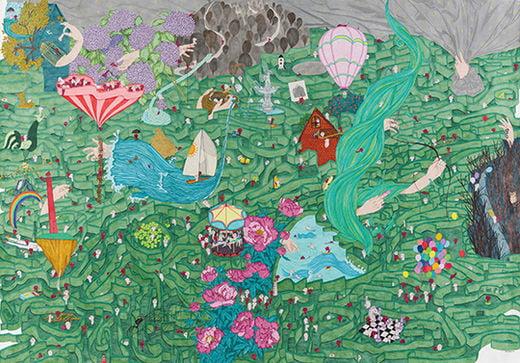 어디든 언제든 나는 있다, 한지 위에 펜과 유채, 149×212cm, 2020년