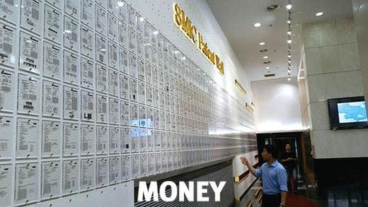 중국 최대 반도체 업체 SMIC 상하이 본사 로비에 있는 '특허의 벽'. SMIC가 취득한 1만여 개의 기술 특허가 벽에 빽빽이 걸려 있다.