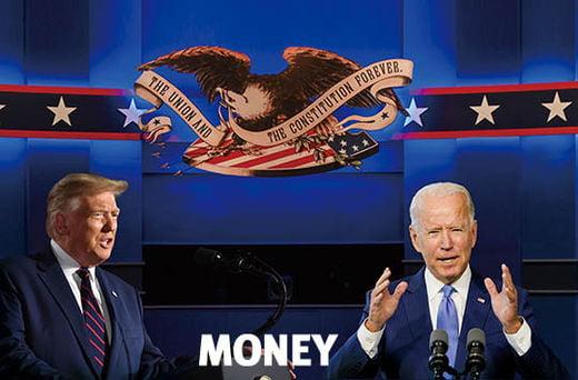 미국 대선 첫 TV 토론에서 맞대결을 벌이는 도널드 트럼프와 조 바이든 대선후보.