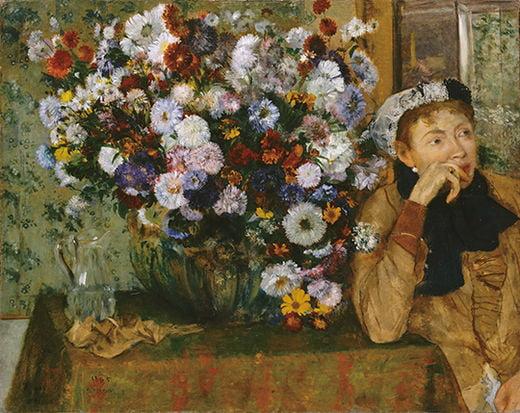 에드가르 드가, 꽃병 옆에 앉아 있는 여인, 1865년, 뉴욕 메트로폴리탄미술관