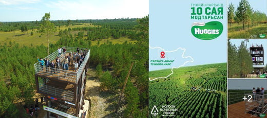 몽골 토진나르스 지역 유한킴벌리의 숲 속에 둘러 쌓여 있는 전망대의 모습 및  몽골 유한킴벌리 숲을 활용한 광고