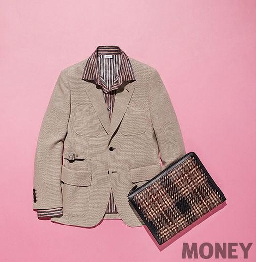 브리오니 베이지 트래블 재킷, 실크 스트라이프 셔츠, 포트폴리오 백