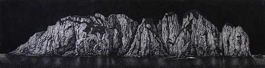 저 너머, 캔버스에 목탄, 181×682cm, 2008년