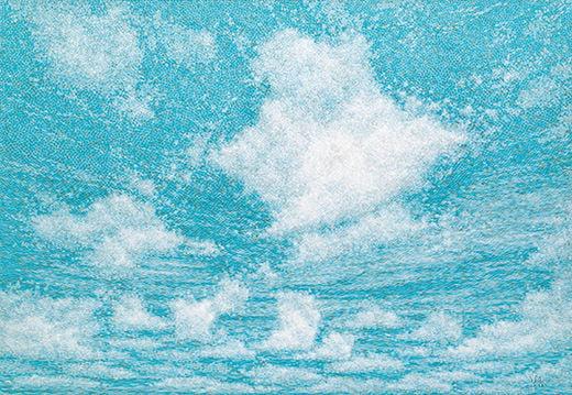 공기와 꿈, 캔버스에 염색 및 한지 위에 한지, 181.8×259cm, 2015년