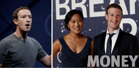티셔츠 차림의 페이스북의 CEO, 마크 저커버그(왼쪽). 2014년 캘리포니아에서 개최된 제2회 브레이크스루 상 시상식에 참여한 슈트 차림의 마크 저커버그와 그의 아내 프리실라 챈.