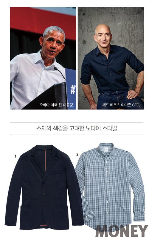 (왼쪽) 오바마 미국 전 대통령. (오른쪽) 제프 베조스 아마존 CEO. 1 편안한 네이비 울 재킷 로로피아나 2 체크 패턴 버튼다운 셔츠 브룩스 브라더스