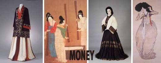 삼국시대 치마저고리(수산리고구려고분벽화 재현품)숄을 걸친 여인('도련도'의 일부. 중국 북송대의 모사본) 예복용 치마저고리(재현품, 15세기)미인도, 해남 녹우당 소장