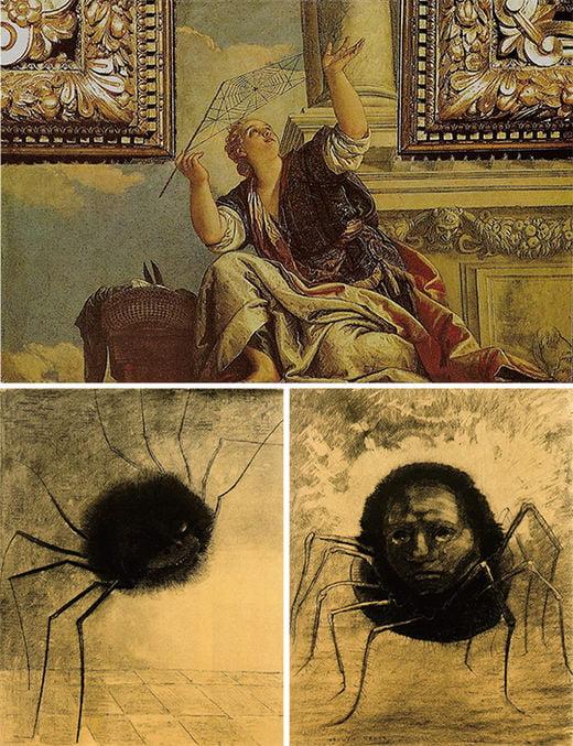 위) 파올로 베로네세, 아라크네 혹은 변증법, 1575~1577년, 베네치아 두칼레 궁 아래 좌) 오딜롱 르동, 웃는 거미, 1881년, 루브르 미술관 우)오딜롱 르동, 우는 거미, 1881년, 개인 소장
