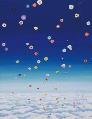 '구름 편지 100통', 53.0×40.9㎝, acrylic on canvas, 2013년