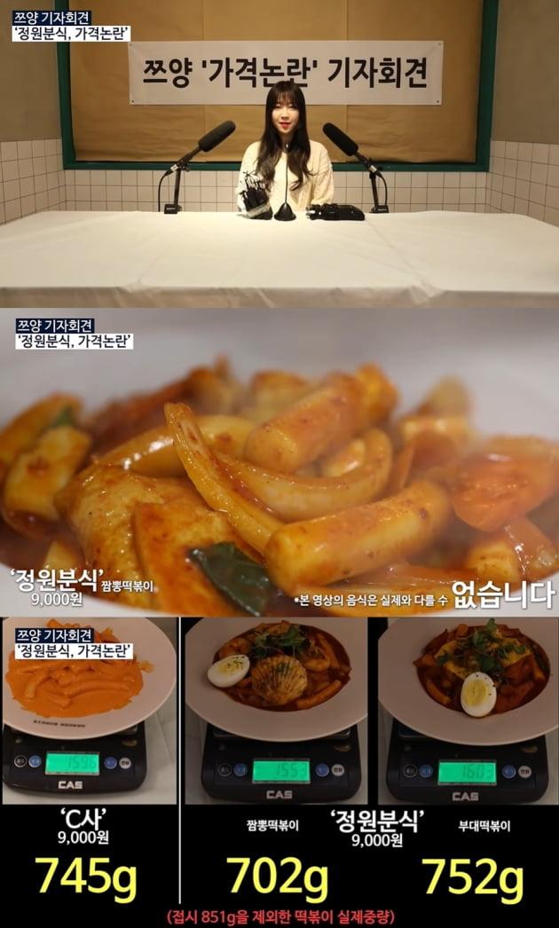 쯔양 '정원분식 논란 해명 /사진=유튜브