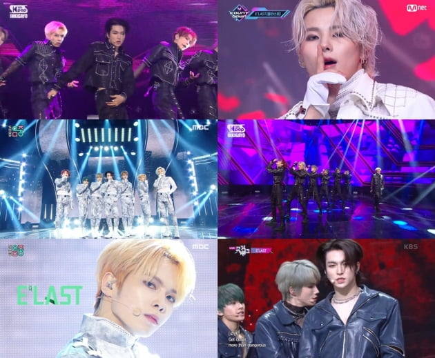 엘라스트 /사진=Mnet '엠카운트다운', KBS 2TV '뮤직뱅크', MBC '쇼! 음악중심', SBS '인기가요' 캡처