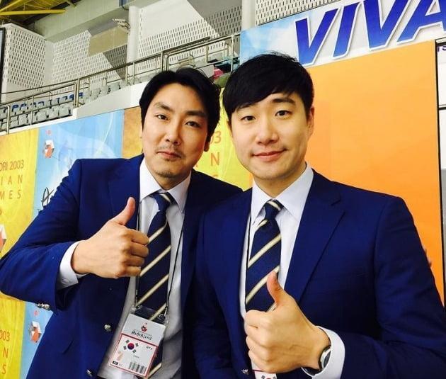 영화 국가대표2 조진웅과 촬영중(2016년 8월 10일) 사진=배성재 SNS
