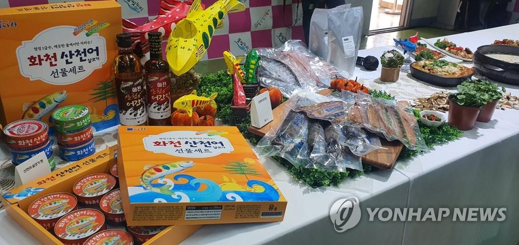 동명이인 강원지사·화천군수 '투 문순' 산천어 판매 맞손