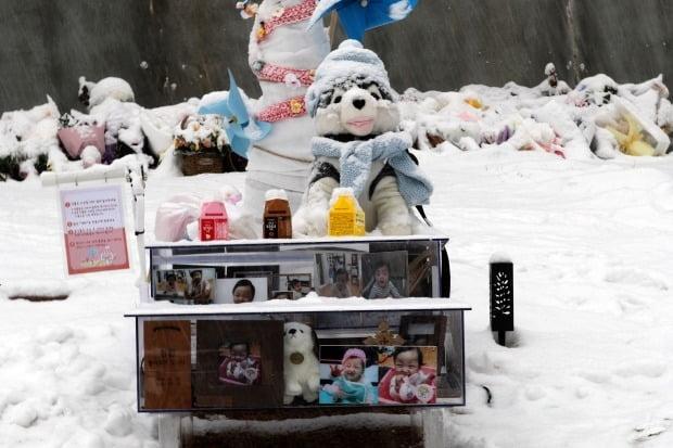 18일 경기도 양평군 하이패밀리 안데르센 공원묘원에서 양부모의 학대로 생후 16개월 만에 숨진 정인 양의 묘지가 눈으로 덮여 있다. (사진=연합뉴스)