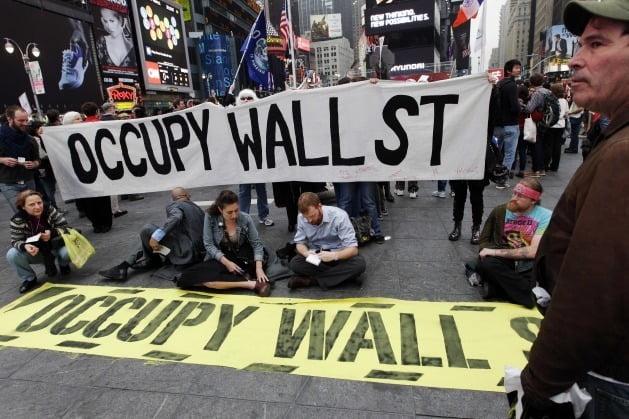 2011~2012년 미국에서 벌어진 월가 점령 시위 당시의 사진. 사진=AP