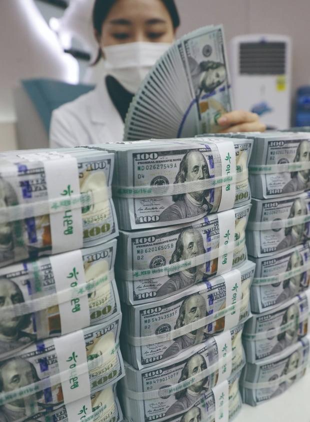 서울 중구 을지로 하나은행 본점 위변조대응센터에서 한 직원이 달러를 정리하고 있다./연합뉴스